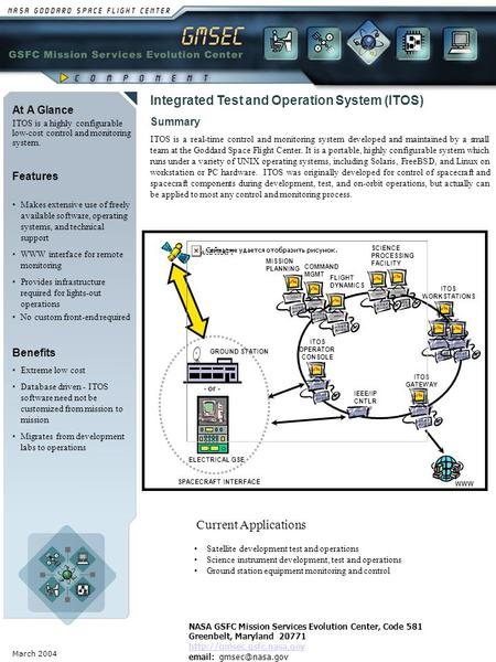 March 2004 At A Glance ITOS is a highly configurable low-cost control and monitoring system. Benefits Extreme low cost Database driven - ITOS software.