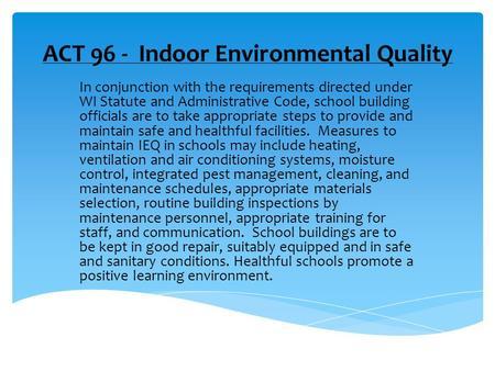 Designated Person Indoor Air Quality Training Program ...