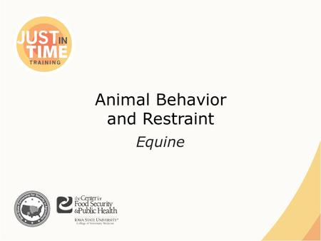 Animal Behavior and Restraint Equine. Equine Characteristics ●Prey animals ●Grazers ●Fight or flight ●Monofocal and biofocal vision – Blind spots  Directly.