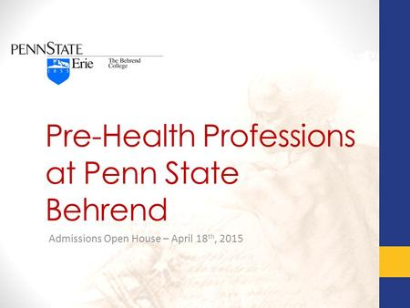 Pre-Health Professions at Penn State Behrend