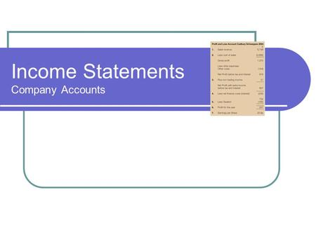 Income Statements Company Accounts