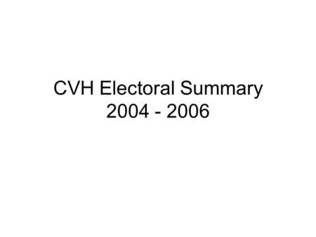CVH Electoral Summary 2004 - 2006. General Goals Increase voter turnout in targeted areas (Targeted areas = Low income communities & communities with.