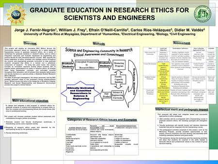 GRADUATE EDUCATION IN RESEARCH ETHICS FOR SCIENTISTS AND ENGINEERS Jorge J. Ferrér-Negrón 1, William J. Frey 1, Efraín O'Neill-Carrillo 2, Carlos Ríos-Velázquez.