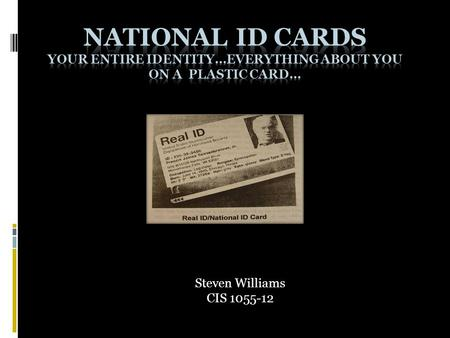 Steven Williams CIS 1055-12. Slide Content  1. What is a National ID card?  2. Origin of the National ID card  3. Supporters of National ID card 