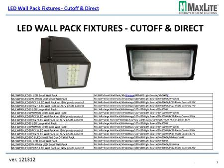 ENERGY EFFICIENT LIGHTING LED WALL PACK FIXTURES - CUTOFF & DIRECT ver. 121312 LED Wall Pack Fixtures - Cutoff & Direct.1.1 MLSWP30LED50- LED Small Wall.