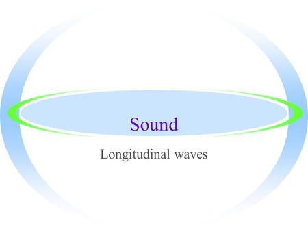 Sound Longitudinal waves Producing a Sound Wave ·Sound waves are longitudinal waves traveling through a medium ·A tuning fork can be used as an example.