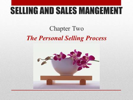 SELLING AND SALES MANGEMENT Chapter Two The Personal Selling Process.