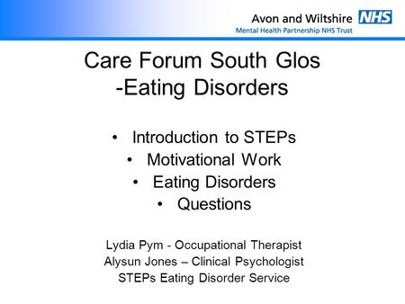 Care Forum South Glos -Eating Disorders