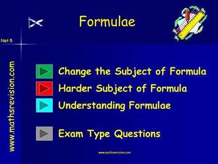 Www.mathsrevision.com Formulae www.mathsrevision.com Change the Subject of Formula Harder Subject of Formula Understanding Formulae Nat 5 Exam Type Questions.
