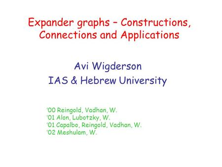 Expander graphs – Constructions, Connections and Applications Avi Wigderson IAS & Hebrew University '00 Reingold, Vadhan, W. '01 Alon, Lubotzky, W. '01.