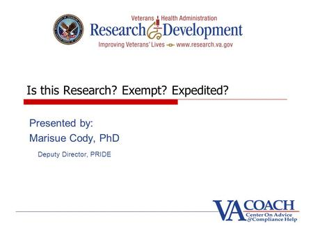 Is this Research? Exempt? Expedited?