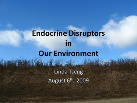 Endocrine Disruptors in Our Environment Linda Tseng August 6 th, 2009.