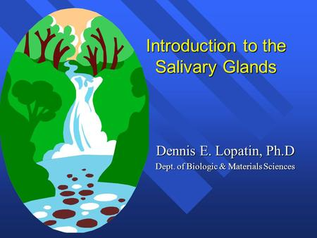 Introduction to the Salivary Glands Dennis E. Lopatin, Ph.D Dept. of Biologic & Materials Sciences.