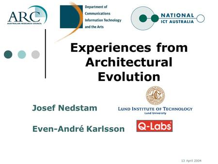 13 April 2004 Experiences from Architectural Evolution Josef Nedstam Even-André Karlsson.