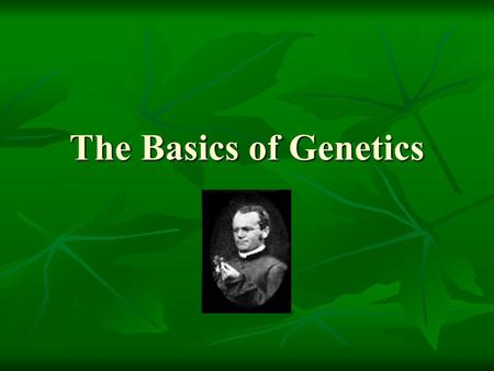 The Basics of Genetics Principles of Genetics.