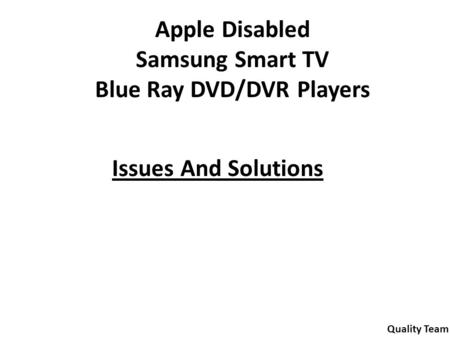 Blue Ray DVD/DVR Players