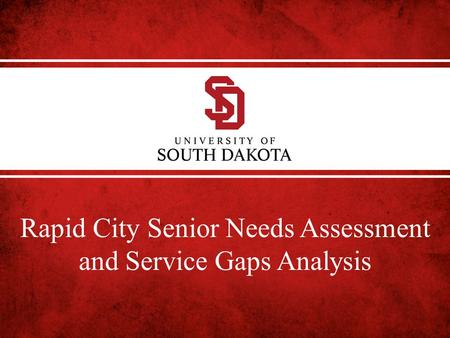 Rapid City Senior Needs Assessment and Service Gaps Analysis.
