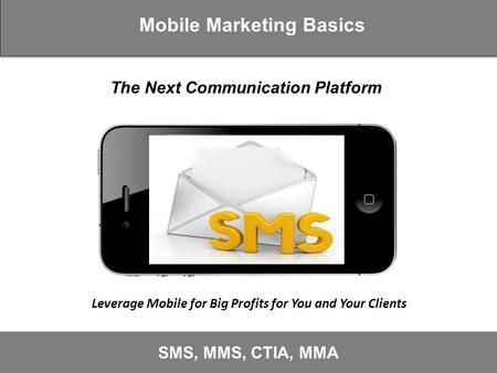 Mobile Marketing Basics SMS, MMS, CTIA, MMA Leverage Mobile for Big Profits for You and Your Clients The Next Communication Platform.