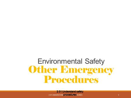 2.01 UNDERSTAND SAFETY PROCEDURES 1 Environmental Safety Other Emergency Procedures 2.01 Understand safety procedures.