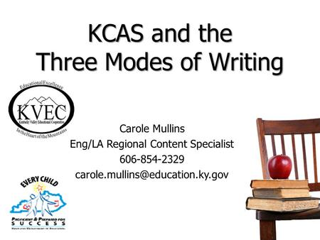 KCAS and the Three Modes of Writing Carole Mullins Eng/LA Regional Content Specialist 606-854-2329