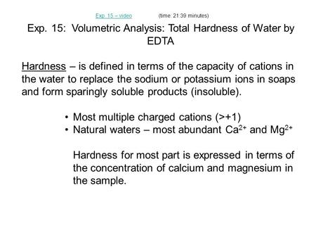 Exp. 15: Volumetric Analysis: Total Hardness of Water by EDTA