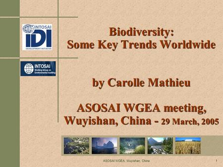 ASOSAI WGEA, Wuyishan, China1 Biodiversity: Some Key Trends Worldwide by Carolle Mathieu ASOSAI WGEA meeting, Wuyishan, China - 29 March, 2005.