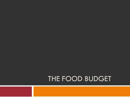 THE FOOD BUDGET. Important Vocabulary Budget: A plan for managing money. Staples: Basic food items that are used on a regular basis. Food Assistance Program: