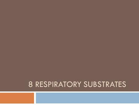 8 RESPIRATORY SUBSTRATES. Learning Objective  To understand about respiratory substrates Success Criteria  define the term respiratory substrate; 