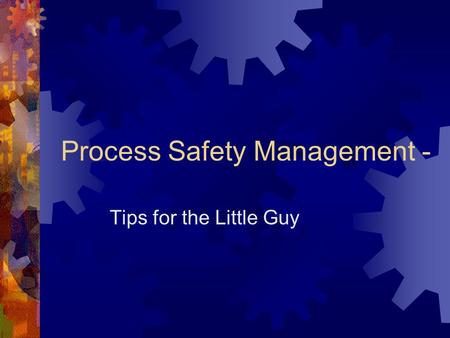 Process Safety Management - Tips for the Little Guy.