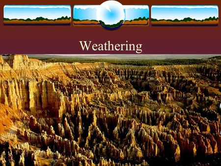 Weathering. Weathering and Erosion  Weathering is the chemical or physical breakdown of a rock or mineral due to exposure to the atmosphere.  Erosion.