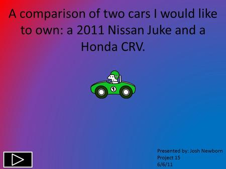 A comparison of two cars I would like to own: a 2011 Nissan Juke and a Honda CRV. Presented by: Josh Newborn Project 15 6/6/11.