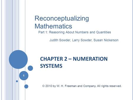 CHAPTER 2 – NUMERATION SYSTEMS