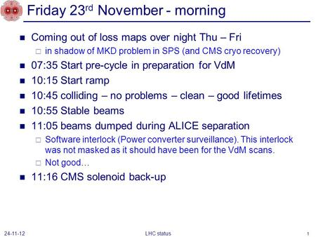 Friday 23 rd November - morning Coming out of loss maps over night Thu – Fri  in shadow of MKD problem in SPS (and CMS cryo recovery) 07:35 Start pre-cycle.