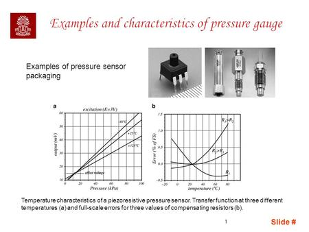 Slide # 1 Examples of pressure sensor packaging Temperature characteristics of a piezoresistive pressure sensor. Transfer function at three different temperatures.