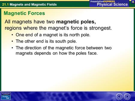 21.1 Magnets and Magnetic Fields All magnets have two magnetic poles, regions where the magnet's force is strongest. One end of a magnet is its north pole.