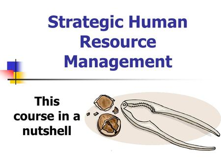 Strategic Human Resource Management This course in a nutshell.