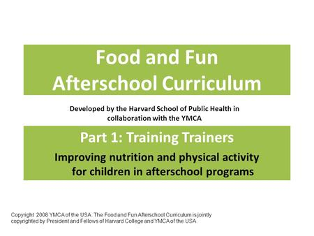 Food and Fun Afterschool Curriculum