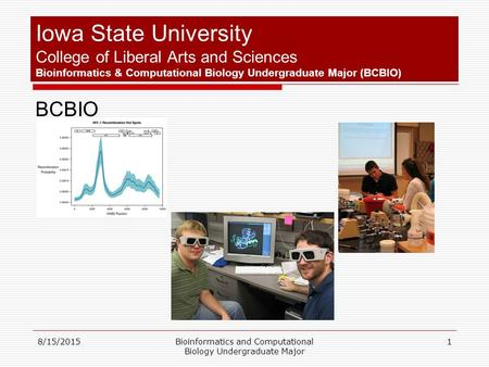 8/15/2015Bioinformatics and Computational Biology Undergraduate Major 1 Iowa State University College of Liberal Arts and Sciences Bioinformatics & Computational.