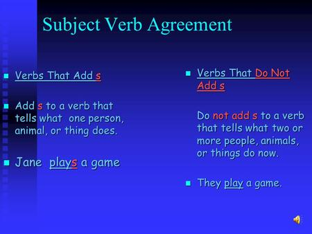 Subject Verb Agreement Verbs Verbs That Add s Add Add sto a verb that tells what one person, animal, or thing does. Jane Jane plays plays a game Verbs.