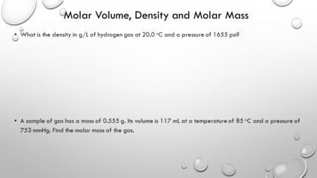 Molar Volume, Density and Molar Mass