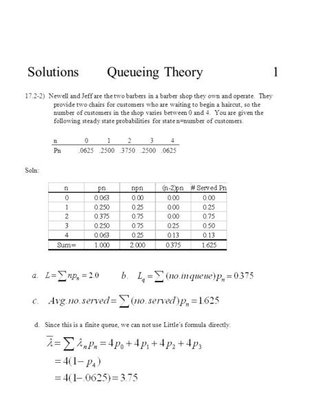 Solutions Queueing Theory 1