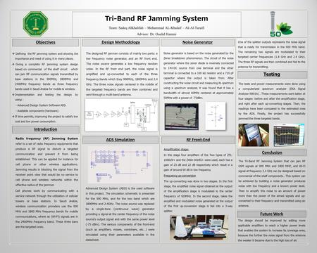  Defining the RF jamming system and showing the importance and need of using it in many places.  Giving a complete RF jamming system design based on.