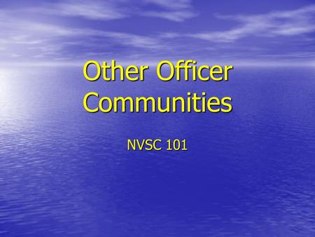 Other Officer Communities