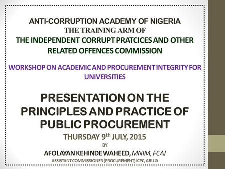 independent corrupt practices commission in nigeria Thecable | nigeria's independent online newspaper  and financial crimes  commission (efcc) and the independent corrupt practices and.