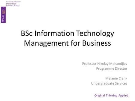 BSc Information Technology Management for Business Professor Nikolay Mehandjiev Programme Director Melanie Crank Undergraduate Services.