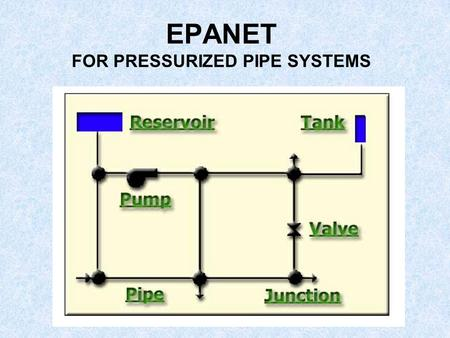 "EPANET FOR PRESSURIZED PIPE SYSTEMS. WHAT IS IT? ""EPANET is a Windows computer program that performs extended period simulation of hydraulic and water-quality."