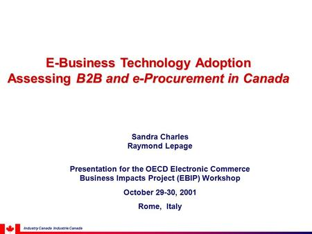 E-Business Technology Adoption Assessing B2B and e-Procurement in Canada Sandra Charles Raymond Lepage Presentation for the OECD Electronic Commerce Business.