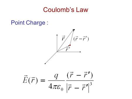 Coulomb's Law Point Charge :. Line Charge : Surface Charge :
