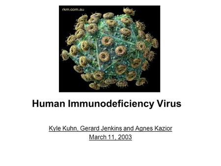 Human Immunodeficiency Virus Kyle Kuhn, Gerard Jenkins and Agnes Kazior March 11, 2003.
