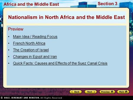 Nationalism in North Africa and the Middle East